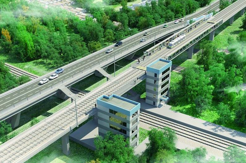 Трамвайная линия, БЗ, ЧЮ, БВ, эстакада, 2802